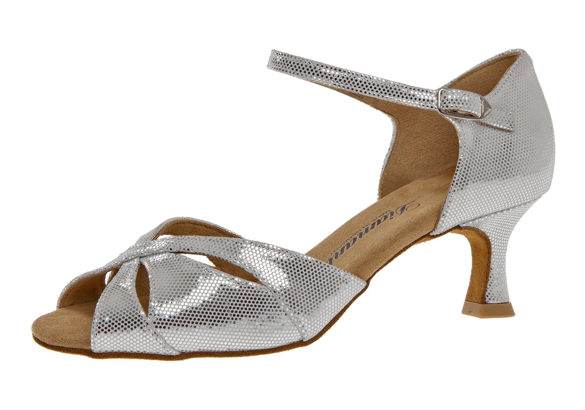 Diamant Damen Tanzschuh Latein 144-077-246 weiß-silber Puntino Leder