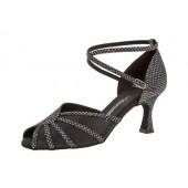 Diamant Damen Tanzschuh Latein 020-087-183 schwarz-silber Hologramm