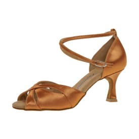 Diamant Damen Tanzschuh Latein 141-087-379 dark tan Satin