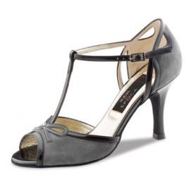 Nueva Epoca Damen Tanzschuh Alexia grey 6 Suede grey / Patent black